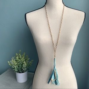 Jewelry - 💙 J Monogram Ombré Tassel Necklace • Blue • Gold